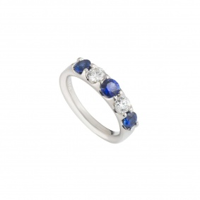 Platinum Sapphire and Diamond Half Eternity Ring